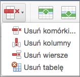Pozycja Usuń tabelę w pakiecie Office dla komputerów Mac