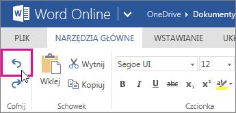 Cofanie zmiany w aplikacji Word Online