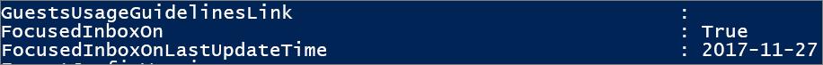 Odpowiedź z programu PowerShell dotycząca stanu priorytetowej skrzynki odbiorczej.