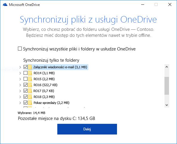 Selektywne synchronizowanie folderów usługi OneDrive dla Firm