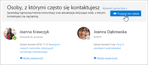 Zrzut ekranu przedstawiający przycisk Przypnij ten widok.