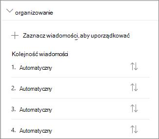 Organizowanie sekcji wiadomości