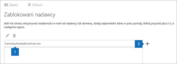 Zrzut ekranu przedstawiający stronę Zablokowani nadawcy.