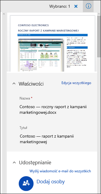 Panel metadanych dokumentu pakietu Office 365
