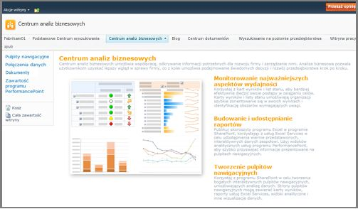 Centrum analiz biznesowych jest zoptymalizowane pod kątem przechowywania elementów analizy biznesowej