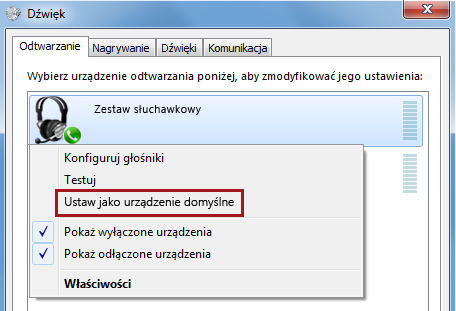 Ustawianie urządzenia jako domyślnego w systemie Windows