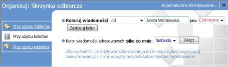 Okienko funkcji Organizuj w programie Microsoft Office Outlook 2007