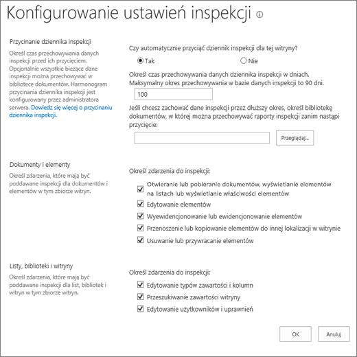 Konfigurowanie ustawień inspekcji w oknie dialogowym Ustawienia witryny