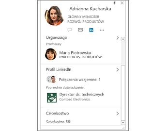 Wizytówka z informacjami z serwisu LinkedIn