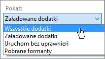 Okno dialogowe dodatki z menu rozwijanego załadowany dodatki zarządzanie.