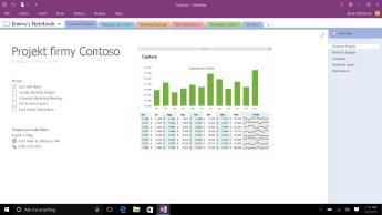 Notes programu OneNote i strona projektu Contoso z listą zadań do wykonania i wykresem słupkowym przedstawiającym miesięczne wydatki.