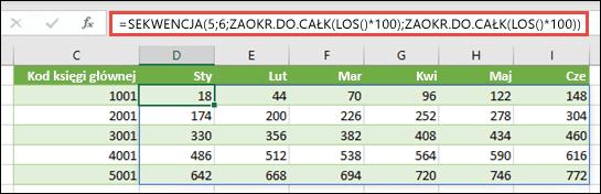 Przykład funkcji SEKWENCJA z zagnieżdżonymi funkcjami ZAOKR.DO.CAŁK oraz LOS w celu utworzenia przykładowego zestawu danych