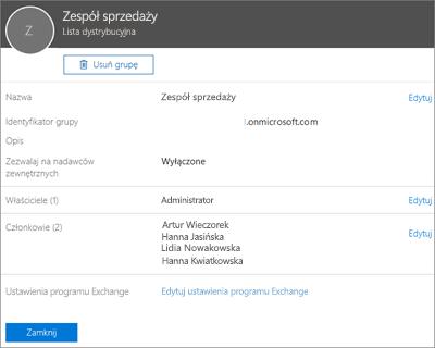 Zrzut ekranu: Dodawanie kontaktu do listy dystrybucyjnej