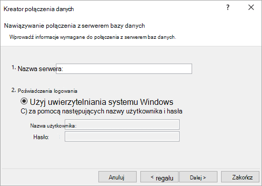 Ekran Kreatora połączenia danych 1