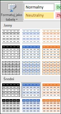 Galeria stylów programu Excel dla pozycji Formatuj jako tabelę