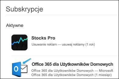 Obraz — program Outlook został wykorzystany do zakupu pakietu Office 365.