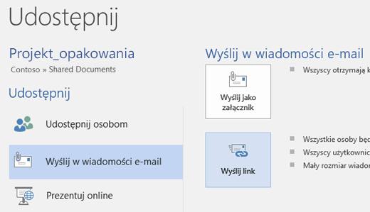 Wysyłanie wiadomości e-mail do zespołu