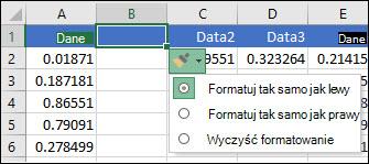 Obraz przycisku Opcje wstawiania wyświetlany po wstawieniu wierszy lub kolumn.
