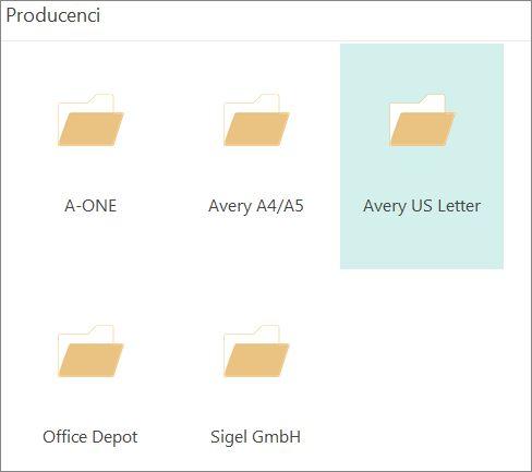Szablony pocztówek dla konkretnych producentów, takich jak Avery.