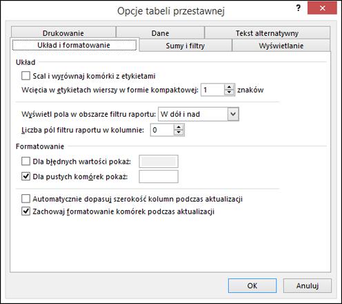 Okno dialogowe Opcje tabeli przestawnej