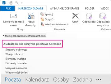 Udostępniona skrzynka pocztowa wyświetlana na liście folderów w programie Outlook