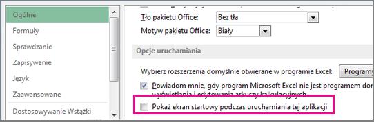 Opcja programu Excel służąca do wyłączenia ekranu startowego wyświetlanego podczas otwierania programu Excel