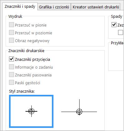 Zaznaczenie pola wyboru znaczniki przycięcia na karcie znaczniki i spady