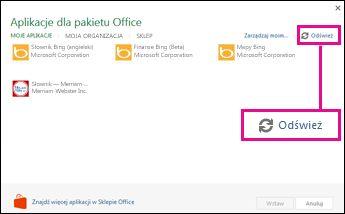 Przycisk Odśwież w oknie Aplikacje dla pakietu Office