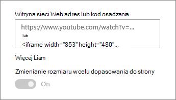 Wklejanie adresu URL klipu wideo lub kodu osadzania w polu