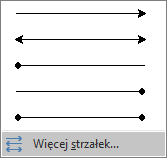 Kliknij pozycję Więcej strzałek u dołu menu Strzałki.