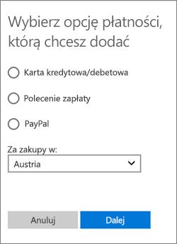 Menu Wybierz opcję płatności z opcjami dostępnymi dla Austrii.