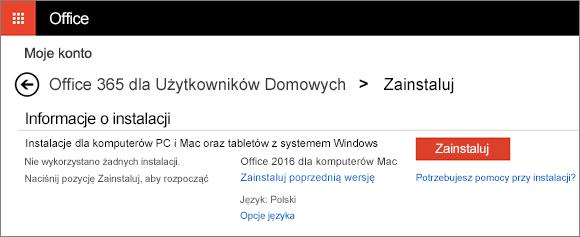 Drugi ekran instalacji na stronie Moje konto