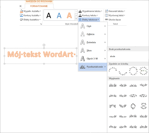 Efekty tekstowe na karcie Formatowanie w obszarze Narzędzia do rysowania z otwartą galerią Przekształcenie