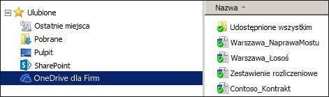 Zsynchronizowany folder usługi OneDrive dla Firm w programie SharePoint