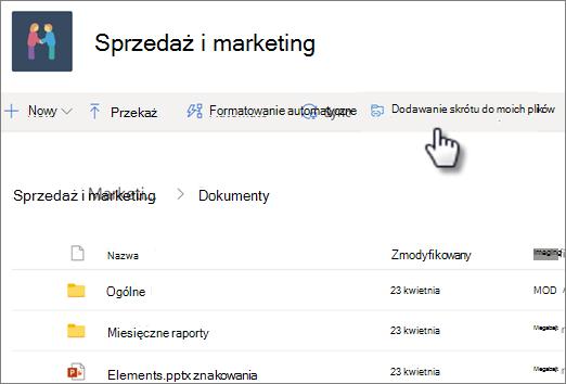 Zrzut ekranu przedstawiający Dodawanie skrótu do usługi OneDrive z biblioteki udostępnionej