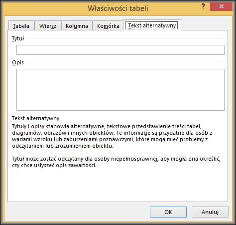 ALT + tab tekst w oknie dialogowym właściwości tabeli