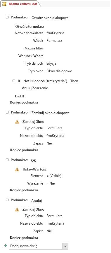 Zrzut ekranu przedstawiający makro programu Access z czterema podmakrami i akcjami.