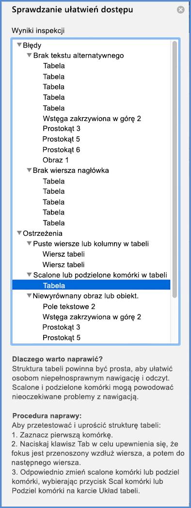Zrzut ekranu przedstawiający menu funkcji Sprawdzanie ułatwień dostępu