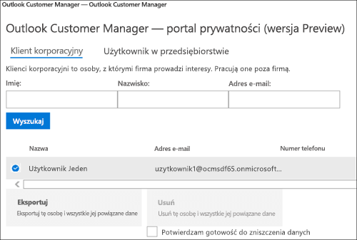 Zrzut ekranu: Klienta Menedżer klienta programu Outlook eksportu danych