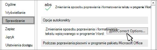 Przycisk Opcje Autokorekty w oknie dialogowym Sprawdzanie