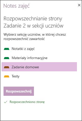 Przykład rozkładem przydziału w aplikacji OneNote Web App