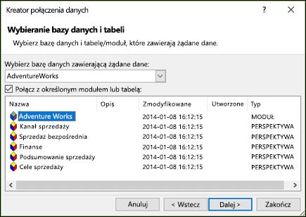 Kreator połączenia danych > Wybieranie bazy danych i tabeli