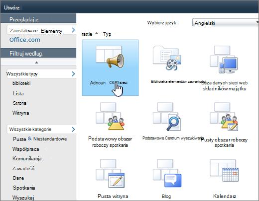 Strona lista lub biblioteka programu SharePoint 2010 — tworzenie z anonsy wyróżnione