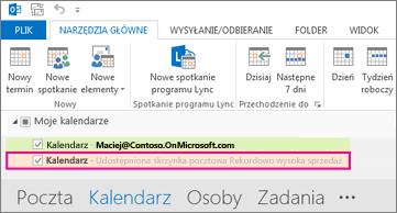 Kalendarz udostępniony wyświetlany na liście folderów w programie Outlook