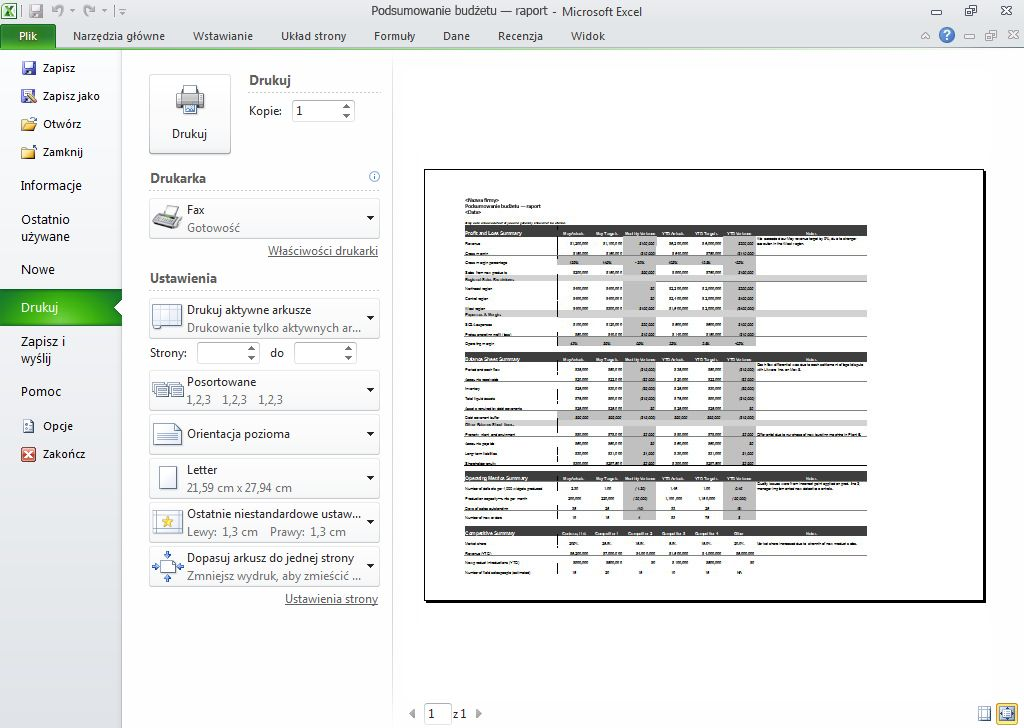 Worksheet print preview
