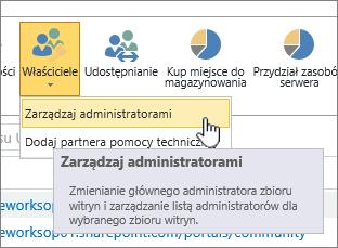 Przycisk właściciele administrator witryny usługi SPO z Zarządzaj administratorami wyróżnione.