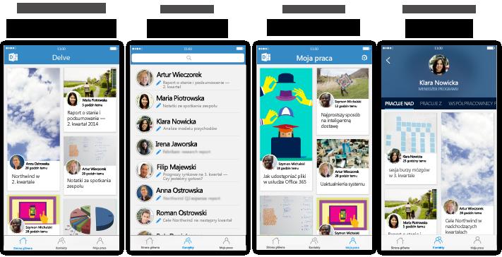 Cztery ekrany aplikacji Delve dla telefonu iPhone z tekstem opisu