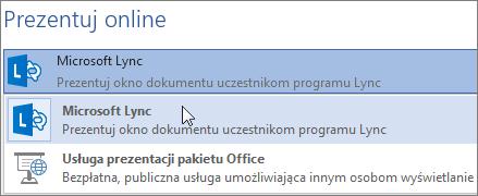 Prezentowanie w trybie online za pomocą programu Microsoft Lync