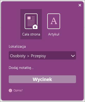 Zrzut ekranu: okno dialogowe programu OneNote Clipper.