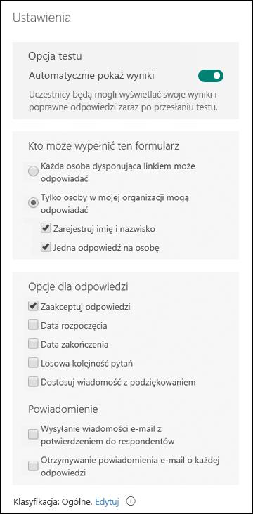 Ustawienia formularzy i testów